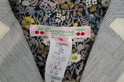 BONPOINT Baby Toddler Grey & Cream Cotton Linen Striped Formal Blazer Jacket 3Y 6