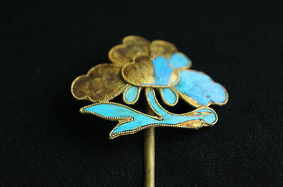 Antique Chinese blue Kingfisher feather hair stick pin ornament [Y9-W6-A9] 3