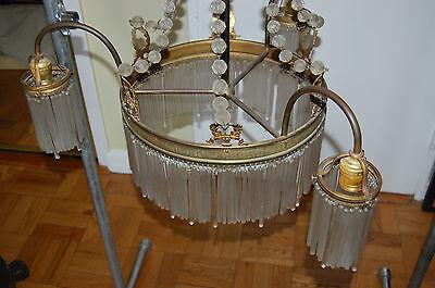 Antique Gorgeous Art Nouveau Brass Chandelier Glass Tubes Circa 19Th Century 8