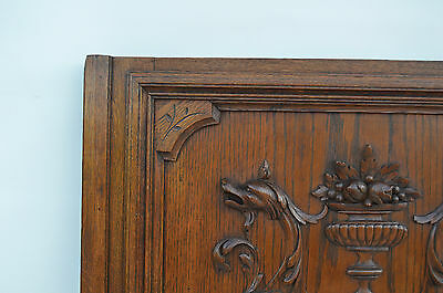 French Antique Carved Oak Wood Architectural Door Panel Gothic Chimeras Griffin