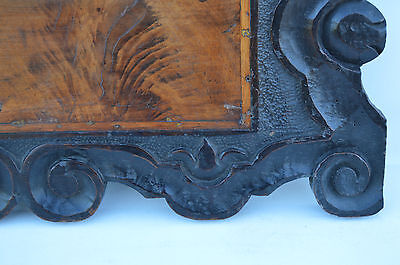 French Antique Gothic Hand Carved Walnut Wooden Pediment - Blazon 17th.c 5
