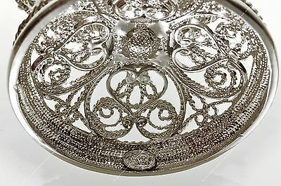 """4,7"""" Silver Filigree Egg Trinket Box St-Petersburg Russian Traditions Of Faberge"""