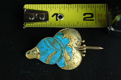 Rare Antique Chinese blue Kingfisher feather hair stick pin ornament [Y9-W6-A9] 7