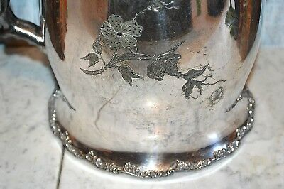 Antique F B Rogers Quadruple Silverplate Large Water Ice Pitcher Ceramic Lined 9
