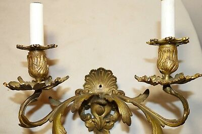 antique ornate dore bronze rococo wall mount electric candle holder fixture 5