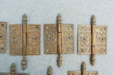"Solid Brass Door Hinge Lot 10 Art Nouveau Chinoisery Butterfly 3 1/2"" Antique 2"