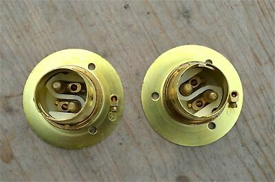 Pair Of Brass Bayonet B22 Lamp Bulb Holder Lamp Holder Earthed C/W Shade Ring 9E 2