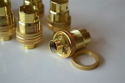 10 Brass Small Bayonet B15 Fitting Bulb Holder Lamp C/W Shade Ring 10Mm L5 3