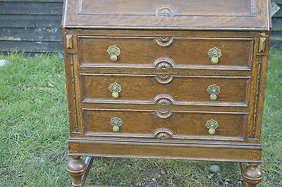 Fine carved oak bureau writing desk with telescopic interior 2