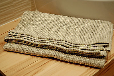 Linen bath towel, Lithuanian pure washed waffle towel linen bath big sauna towel 2