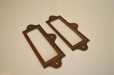 Pair Antiqued Brass File Cabinet Label Holder Name Holder Plan Chest Drawer Lh2 2 • £4.99