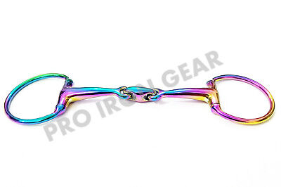 Rainbow Multi Color EGGBUTT Snaffle Horse Bit Lozenge Fat Double Joint Oval Link Stainless Steel