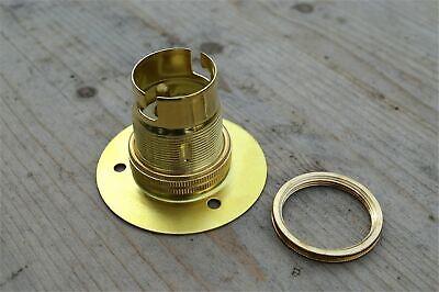 Set Of 5 Brass Bayonet B22 Lamp Bulb Holder Lamp Holder Earth C/W Shade Ring 9E 3