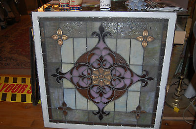 Large Antique Stained Glass Window Vibrant Colors Beveled  Glass 2 Available 10
