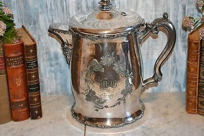 Antique F B Rogers Quadruple Silverplate Large Water Ice Pitcher Ceramic Lined 2