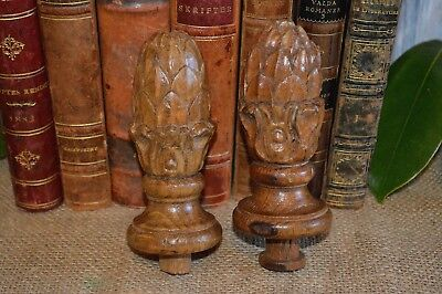 Antique Pair French Finials Carved Wood Artichoke Pinecone Post or Drapery 3