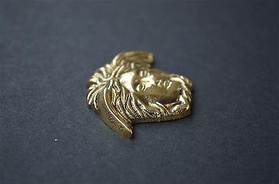 Small Art Nouveau angels head solid brass furniture mount ormalu H4 2