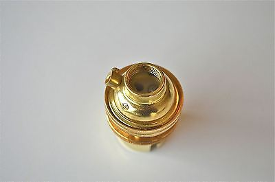Brass Bayonet Fitting Bulb Holder Lamp Holder Earthed C/W Shade Ring 1/2 Inch L3 3