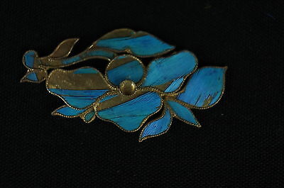 Antique Chinese blue Kingfisher feather hair stick pin ornament [Y8-W1-A9] 2