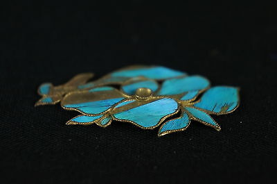 Antique Chinese blue Kingfisher feather hair stick pin ornament [Y8-W1-A9] 3