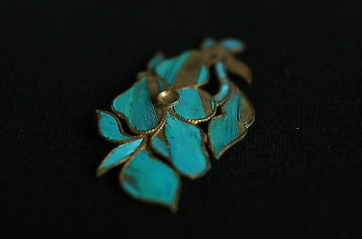 Antique Chinese blue Kingfisher feather hair stick pin ornament [Y8-W1-A9] 4
