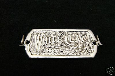Ice Box Label White Clad Brass Nickel Plated 6
