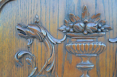 French Antique Carved Oak Wood Architectural Door Panel Gothic Chimeras Griffin 8