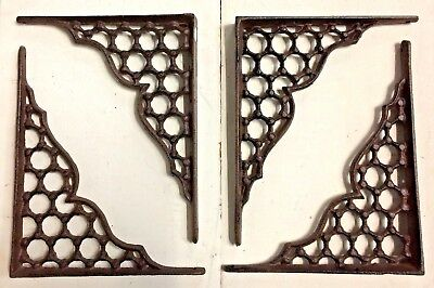 SET OF 2 LARGE HONEYCOMB LATTICE SHELF BRACKET BRACE Shabby Antique White Iron