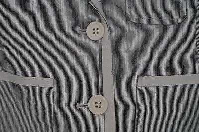 BONPOINT Baby Toddler Grey & Cream Cotton Linen Striped Formal Blazer Jacket 3Y 4