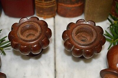 Antique Pair French Turned Wood Finials Drapery Cord Keepers Tassel Pulls 2 pc 5