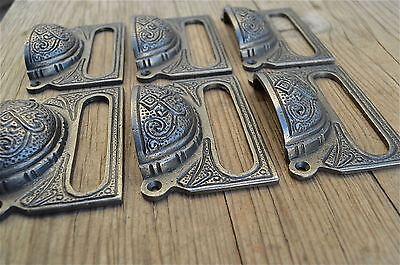 A Set Of 6 Large Edwardian Cast Iron Label Frame Handle Filing Drawer Pull Cb10