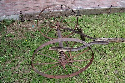 Antique Metal Rustic Wagon Wheels with sprocket Axle  Garden Yard western art 6