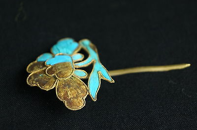 Antique Chinese blue Kingfisher feather hair stick pin ornament [Y9-W6-A9] 4