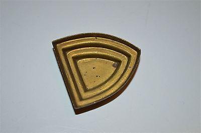 Original antique cast brass furniture mount mirror cartouche emblem RM2