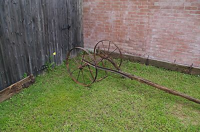 Antique Metal Rustic Wagon Wheels with sprocket Axle  Garden Yard western art 2