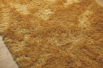 Dazzle Ochre Mustard Yellow Thick Long Pile Glitter Gold Sparkle Shaggy Rug 5