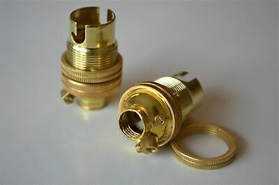 Pair Of Brass Small Bayonet B15 Fitting Bulb Holder Lamp C/W Shade Ring 10Mm L5 3