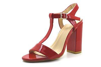 Dettagli su Scarpe sandali donna con tacco alto decolte lucide decolletè estive tre colori