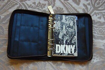 Vintage Dkny Donna Karen Black Leather Planner Address Book Cover 3