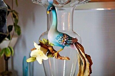 "Vintage Cevik/ Capodimonte Peacock, 22"" tall glass and porcelain vase. 4"