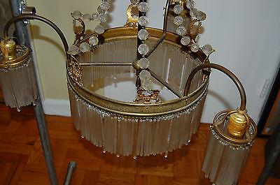Antique Gorgeous Art Nouveau Brass Chandelier Glass Tubes Circa 19Th Century 6