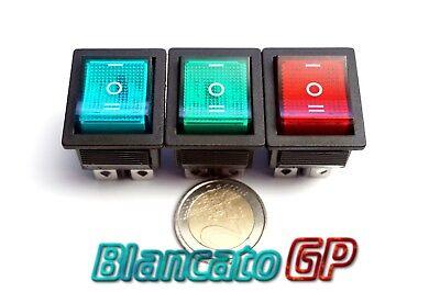 Interruttore a Bilanciere 12V Illuminato Verde On-Off 21x15mm