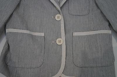 BONPOINT Baby Toddler Grey & Cream Cotton Linen Striped Formal Blazer Jacket 3Y 2