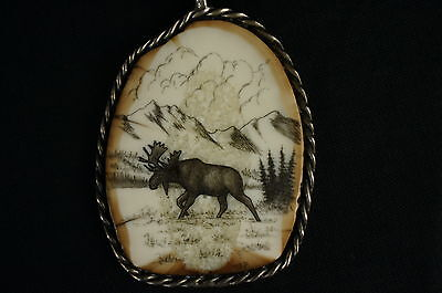 """Outstanding native american carving,sterling casing, signed 2"""" [Y9-W6-A9-E9] 8"""