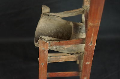"""Great antique Chinese carved wood chair-shaped brush holder 12"""" 7"""