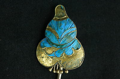 Rare Antique Chinese blue Kingfisher feather hair stick pin ornament [Y9-W6-A9] 2
