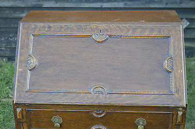 Fine carved oak bureau writing desk with telescopic interior 3