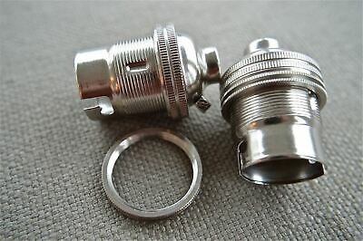 2 Nickel Bayonet Fitting Bulb Holder Lamp Holder Earthed With Shade Ring 10Mm L1 4