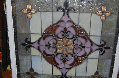 Large Antique Stained Glass Window Vibrant Colors Beveled  Glass 2 Available 11