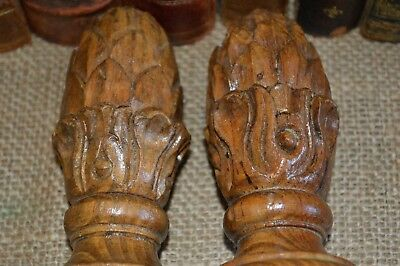 Antique Pair French Finials Carved Wood Artichoke Pinecone Post or Drapery 4